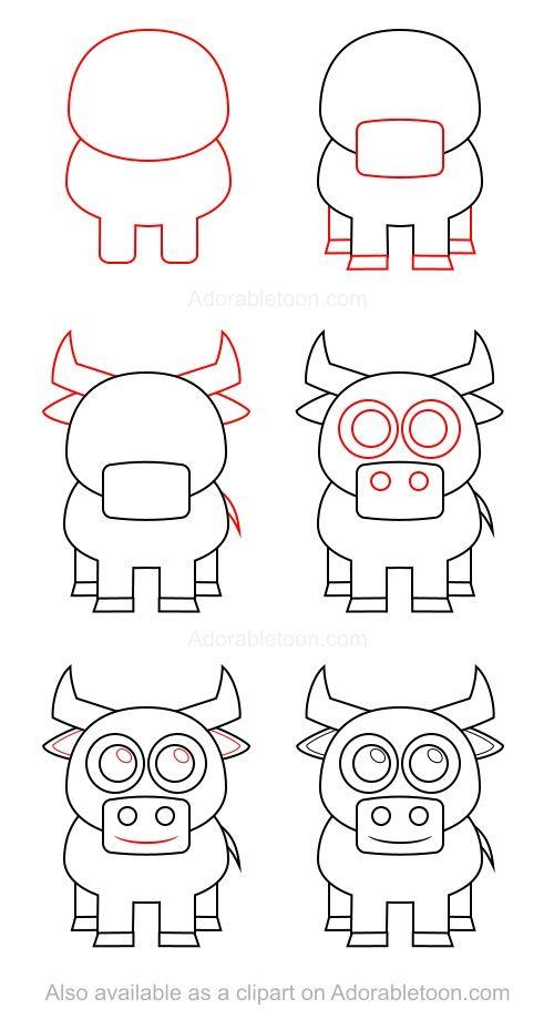 How To Draw A Bull Dessin Taureau Mouton Dessin Dessins Faciles