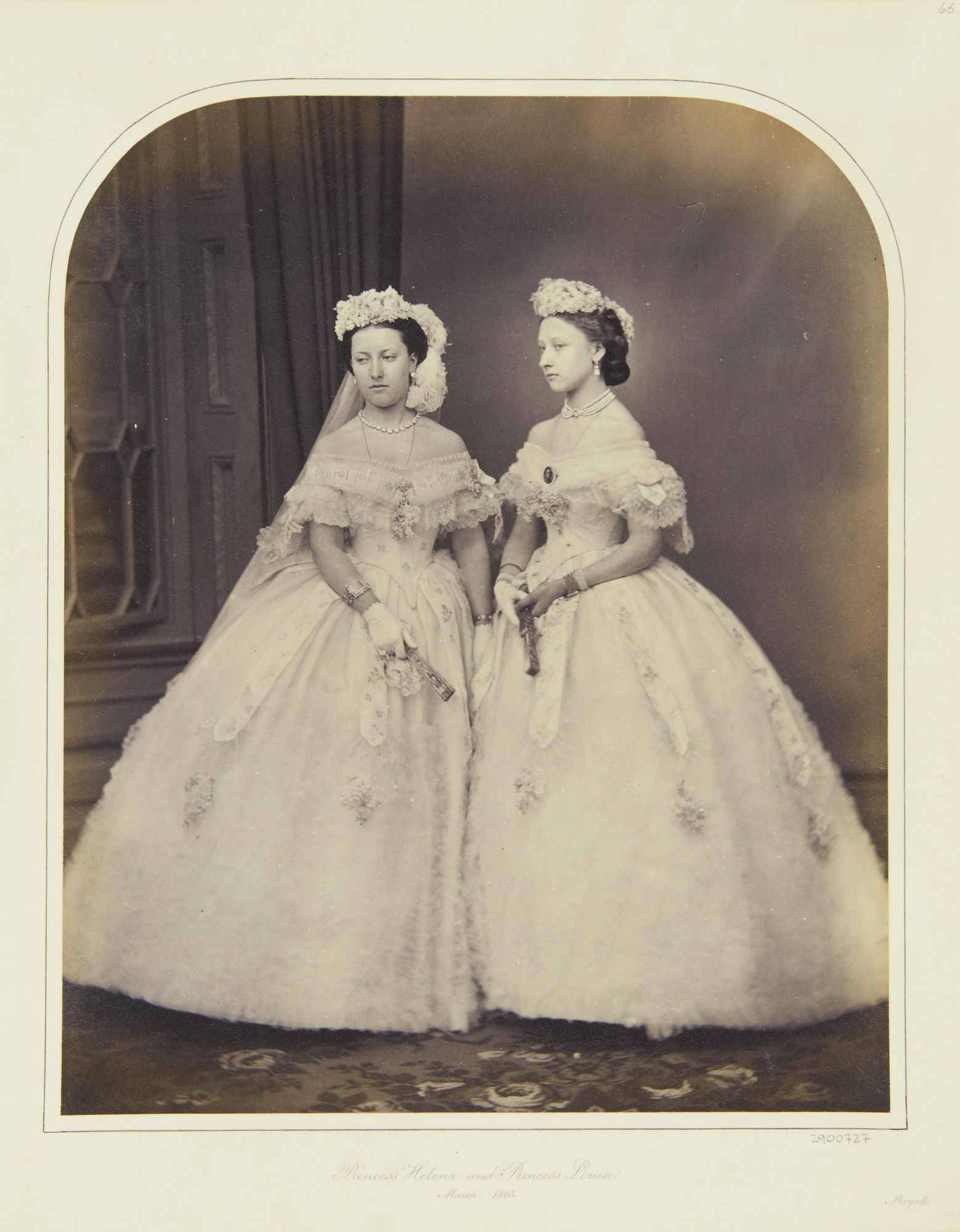 Princess Helena and Princess Louise, March 1863 [in Portraits of Royal Children Vol.6 1862-1863]   Royal Collection Trust