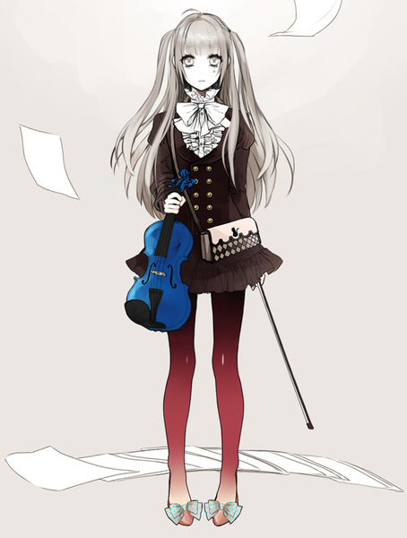 Not PMMM, but this looks like Fem!Kyousuke, and the violin is blue, like Sayaka.