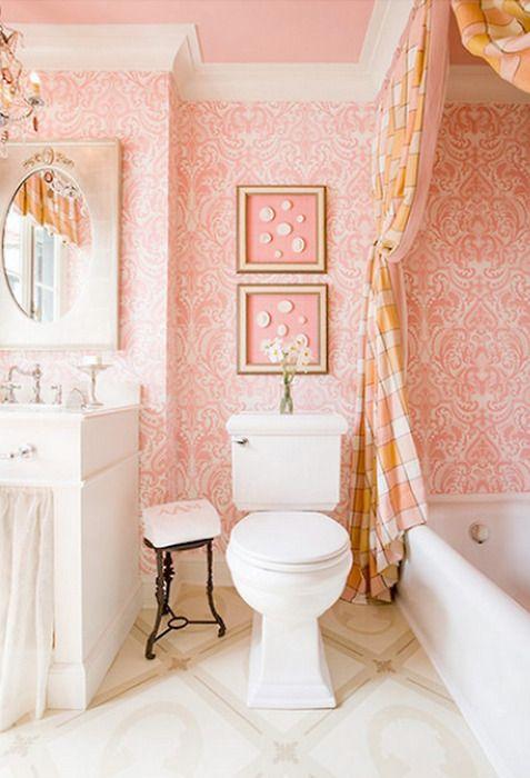 Pink Powder Room Repinned Via Jlp Pink Bathroom Shabby Chic Bathroom Girls Bathroom