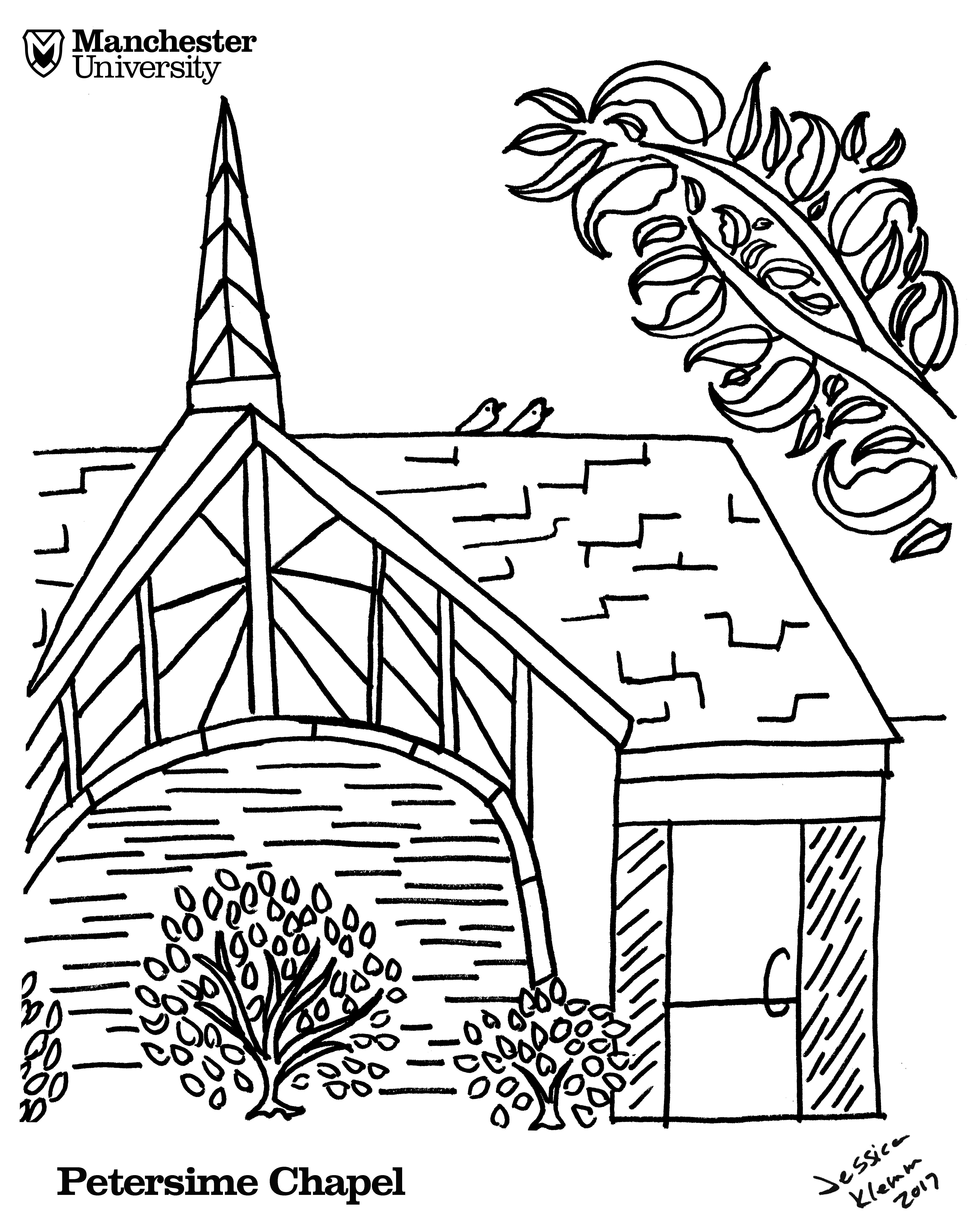Manchester University Petersime Chapel coloring page - just print ...
