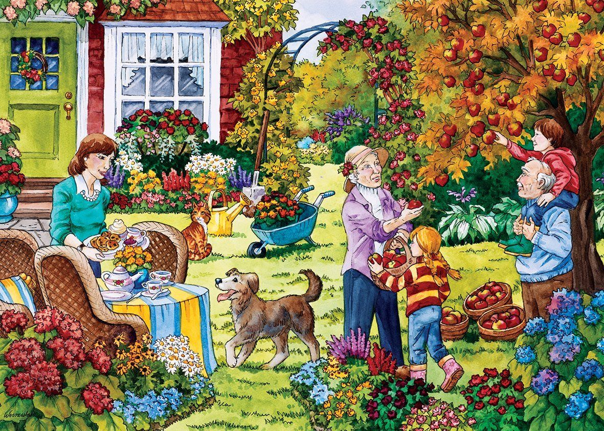 Gibsons Apple Picking Jigsaw Puzzle (500 Extra Large Pieces): Amazon.co.uk: Toys & Games