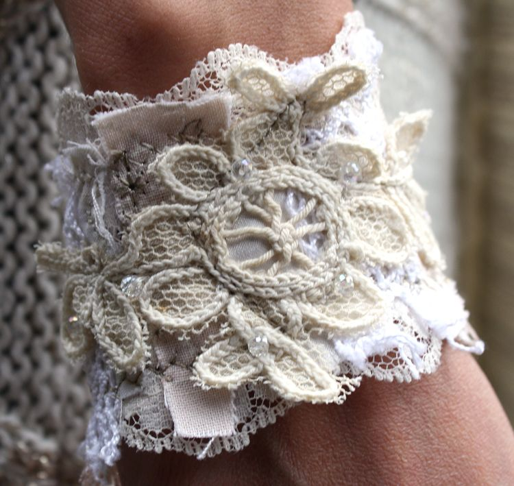 Fabric and lace embroidered bracelet