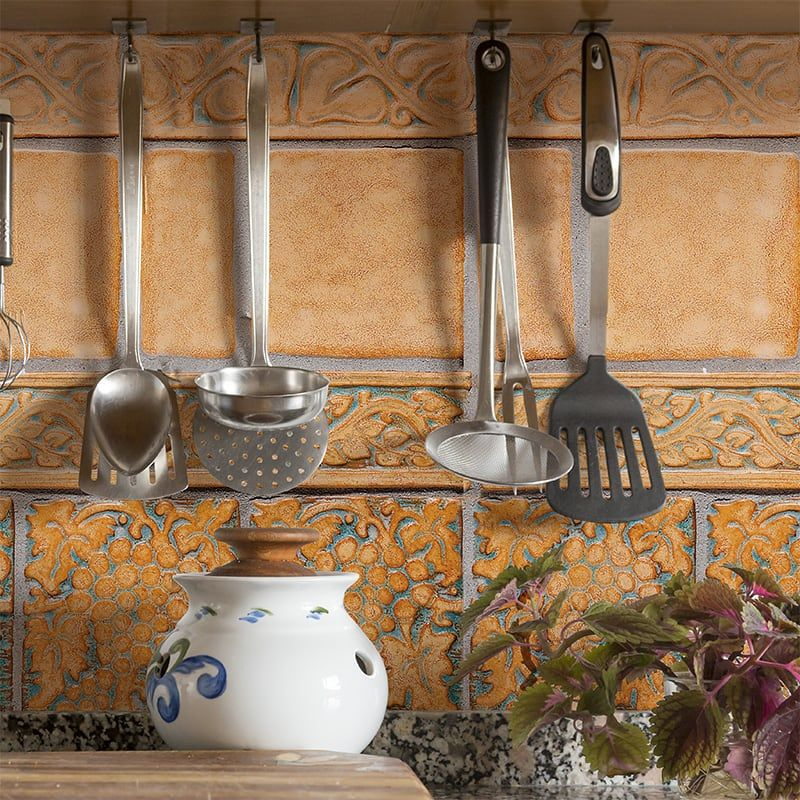 Beautiful Rustic Tiles And Grape Relief Detailing From Our Catalina Ceramic Tile Collection Countryfloors Glazed Ceramic Tile Ceramic Tiles Rustic Tile