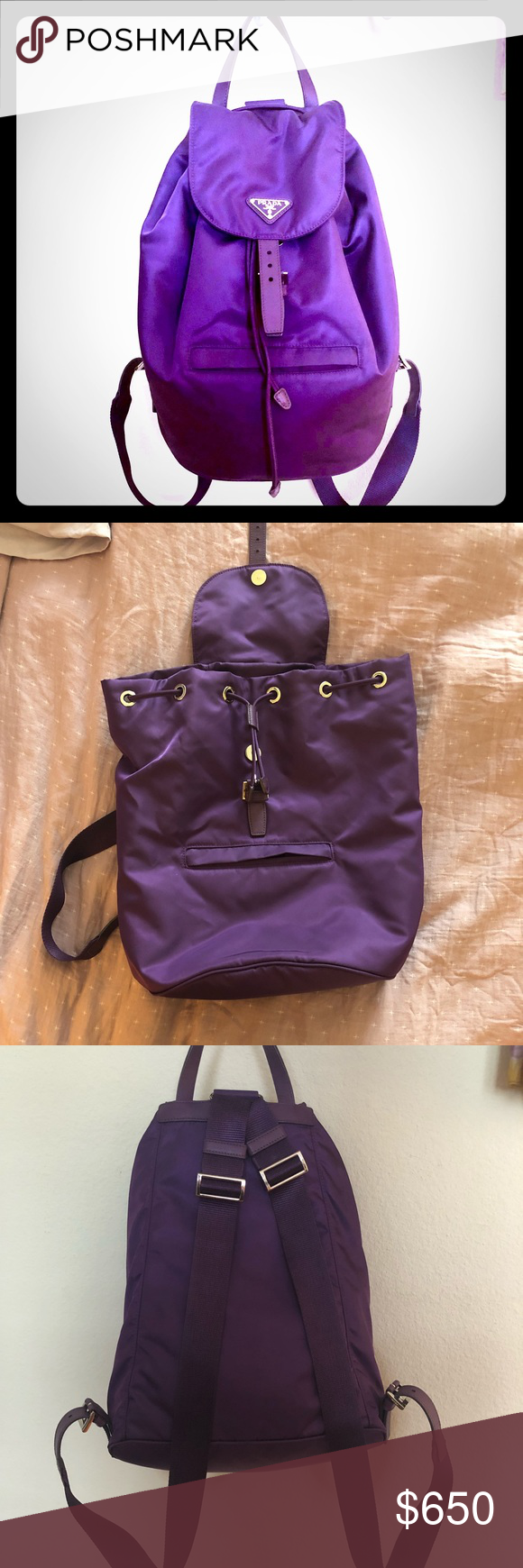 4a42f8d4cea142 ... norway prada vela medium backpack in purple the color is so pretty. its  a bright ...