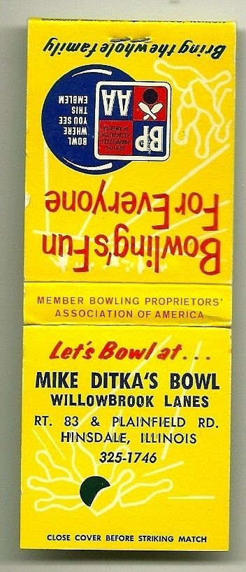 Mike Ditka S Bowl Bowling Alley Matchbook Unused 1960 S Matchbook Mike Ditka Bowling