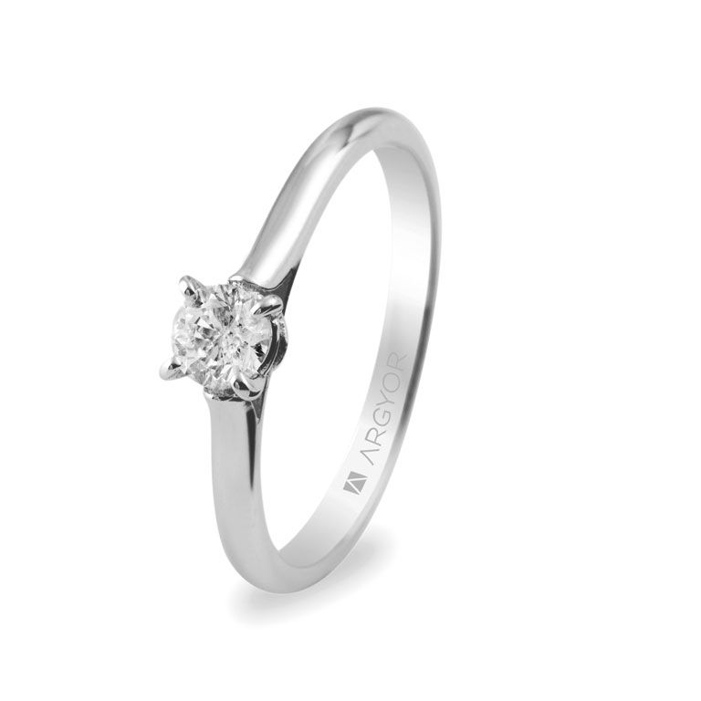 70e6787b72b2 Anillo de compromiso de oro blanco con 1 diamante de 0.30ct en talla  brillante (modelo Argyor 74B0018).