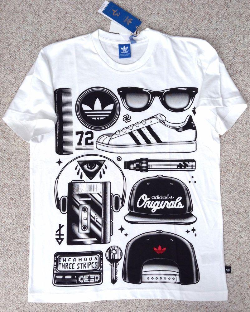 "MEDIUM New$30 ADIDAS CLASSICS ""SST LOOK"" T-SHIRT Shoe Snapback Walkman 90s White #HardTen #GraphicTee"