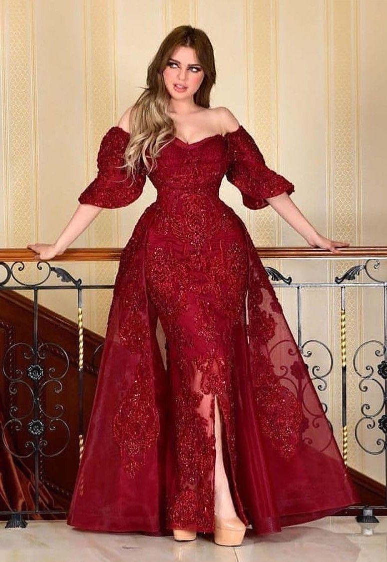 designer abendkleider mit Ärmel | rote abiballkleider mit