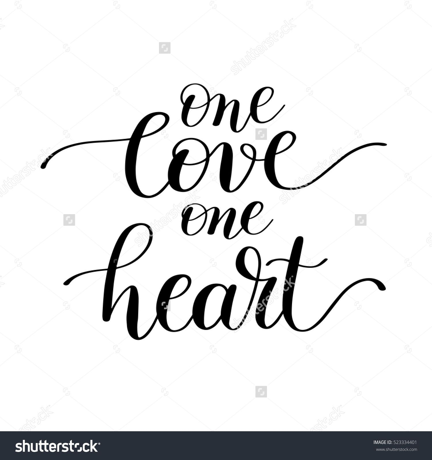 one love one heart handwritten lettering quote about love to ID in Russia one love one heart handwritten lettering quote about love to valentines day design or wedding invitation or printable wall art poster home decor and other