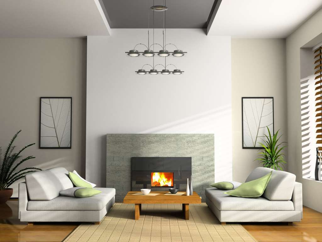 Calm Grey Living Room With Fireplace Lit Green Pillows listed in ...