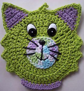 Crocheted Kitten Cat Potholder Decoration Topflappen Häkeln