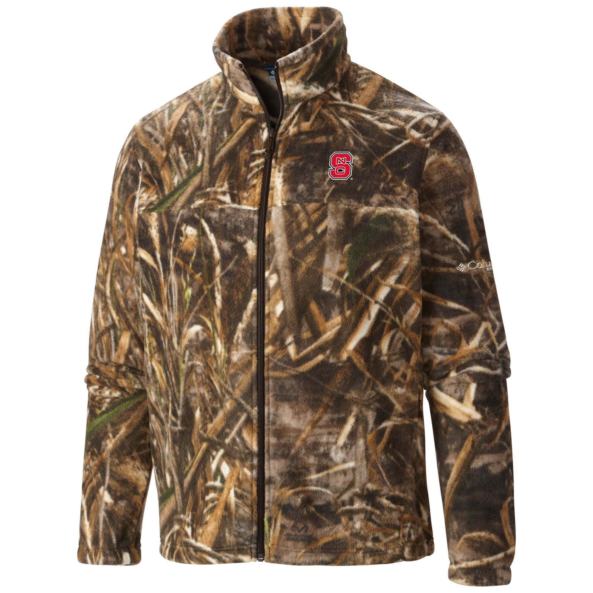 5e29e31189583 North Carolina State Columbia Camo Flanker Jacket - 100% Polyester Fleece -  Full Zip - Embroidered Logo - Officially Licensed