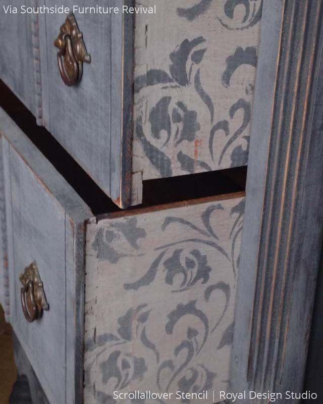 Furniture Stencils | Small Scrollallover | Royal Design Studio | DIY ...
