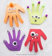 MONSTER HANDPRINT CARDS - these are too cute to make for Halloween! Monster Halloween craft for kids. #bestideasforkids #halloween #halloweencraft #kidscraft #Craft #Handprint #Ideas #Kids #Monster #scrap wood crafts #wood crafts design #wood crafts diy #wood crafts furniture #wood crafts ideas