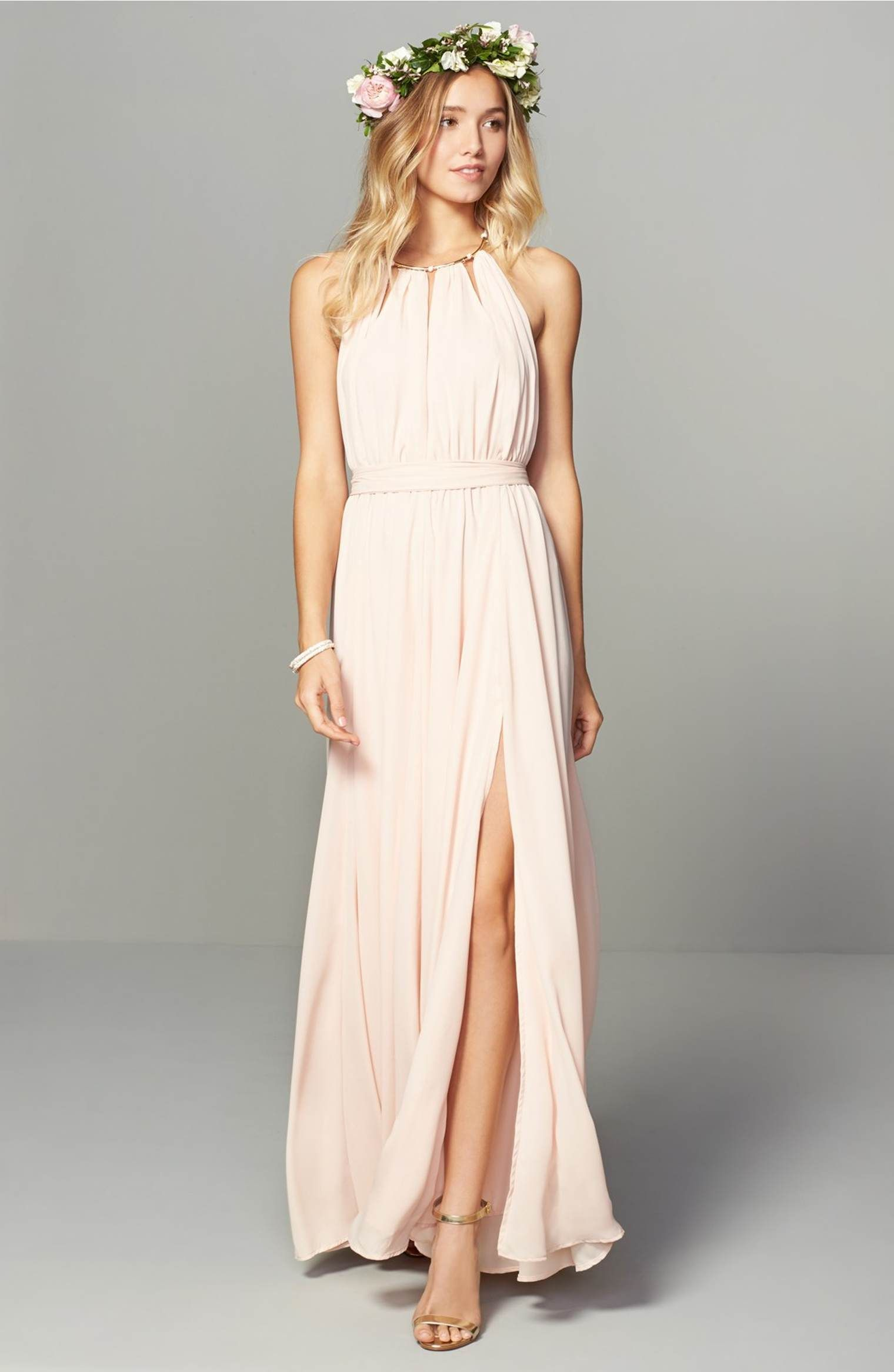 Main image lulus gold metallic halter neck chiffon gown