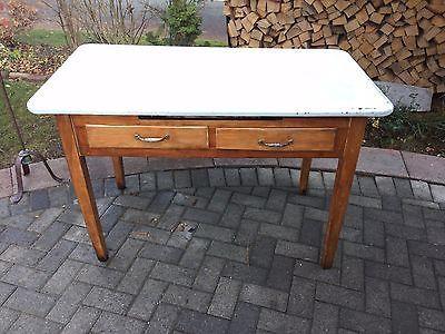 Antique 1940 S Porcelain Enamel Kitchen Table Work Station Kitchen Table Antique Table Table