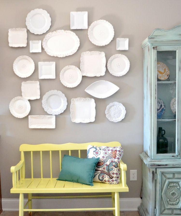kreative Wandgestaltung Wohnzimmer Ideen Teller weiß Pinterest - kreative wandgestaltung wohnzimmer