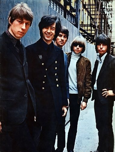 Chris Dreja, Jimmy Page, Jim McCarty, Keith Relf and Jeff Beck of the Yardbirds pose for a portrait, circa 1966.