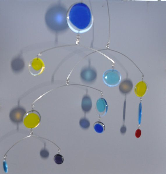 Fused Glass Mobiles | Fused multi color glass mobile