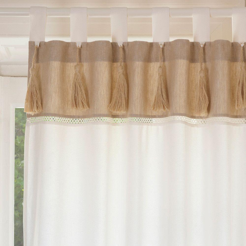 rideau double passants en coton blanc et beige 150x250. Black Bedroom Furniture Sets. Home Design Ideas
