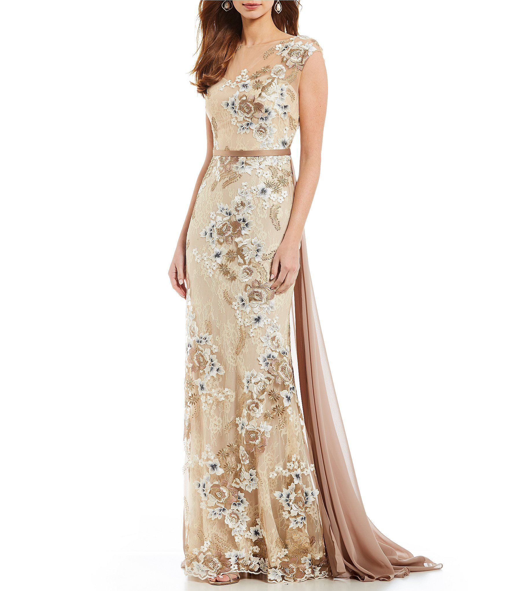 8717a191c80 Terani Couture Floral Embroidered Lace Gown