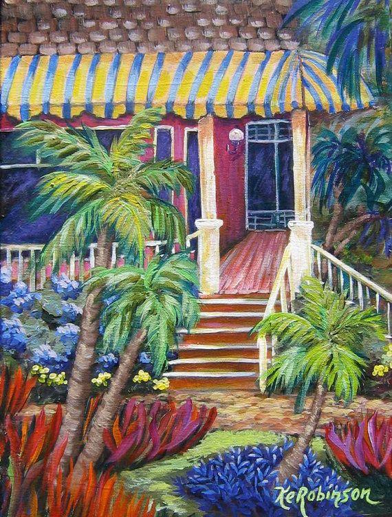 Sea Gull Cottage Palm Beach Florida Kerobinson Original Painting Palm Beach Florida Cottage Images Tropical Art