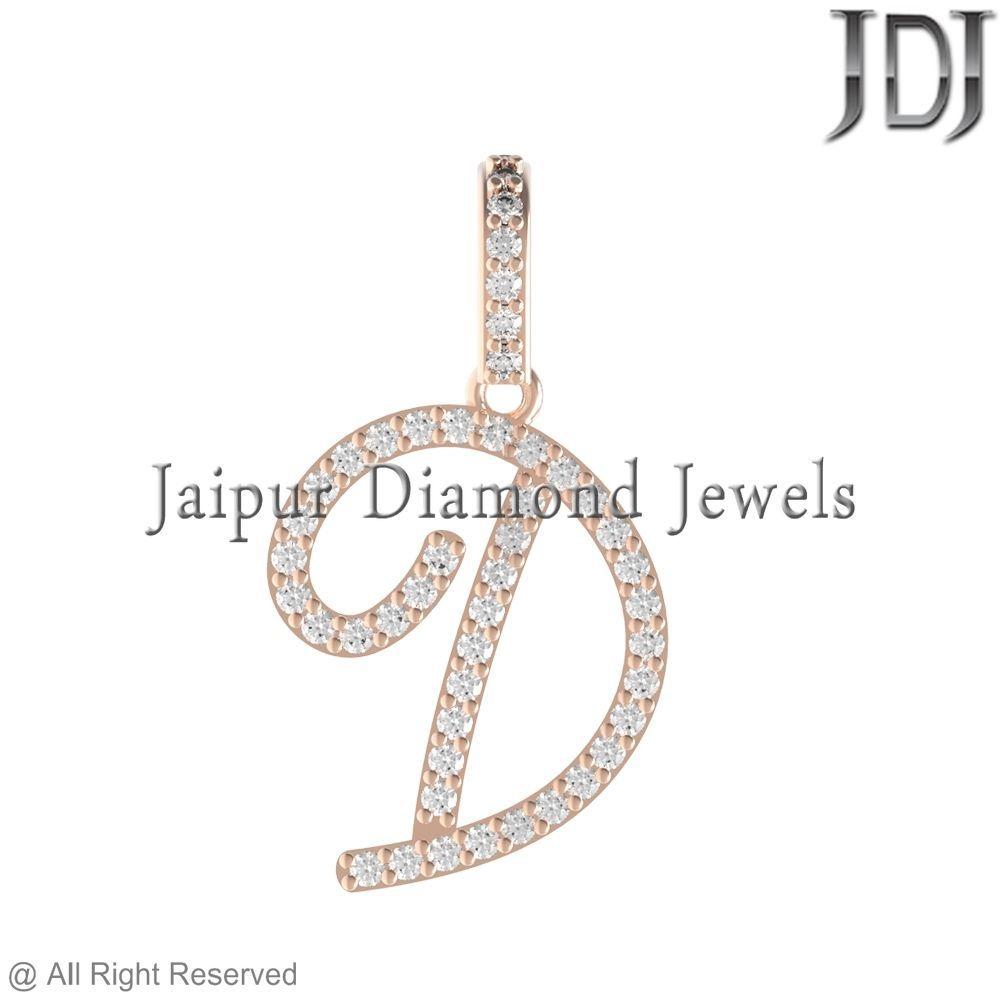 14k Rose Gold White Diamond D Alphabet Charm Handmade Pendant