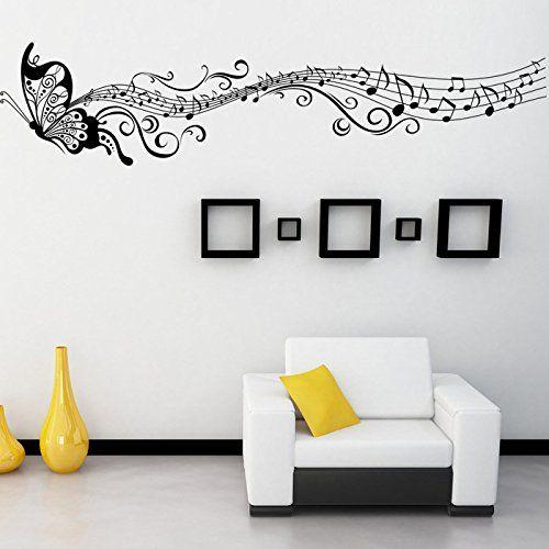 Rainbow fox stickers muraux amovibles avec papillon et partition de musique pour la maison pour salon
