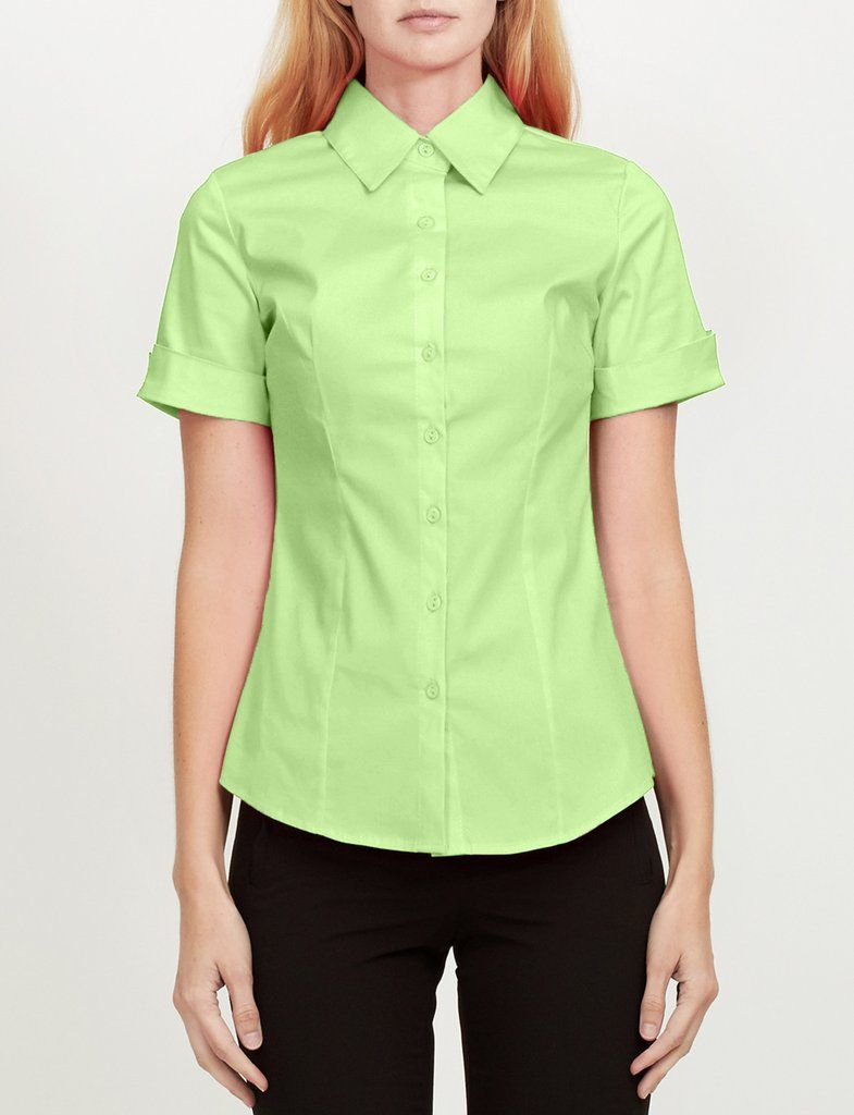 0f292719d825 Short Sleeve Button Down Shirt with Stretch | FASHION BABY! | Cuff ...