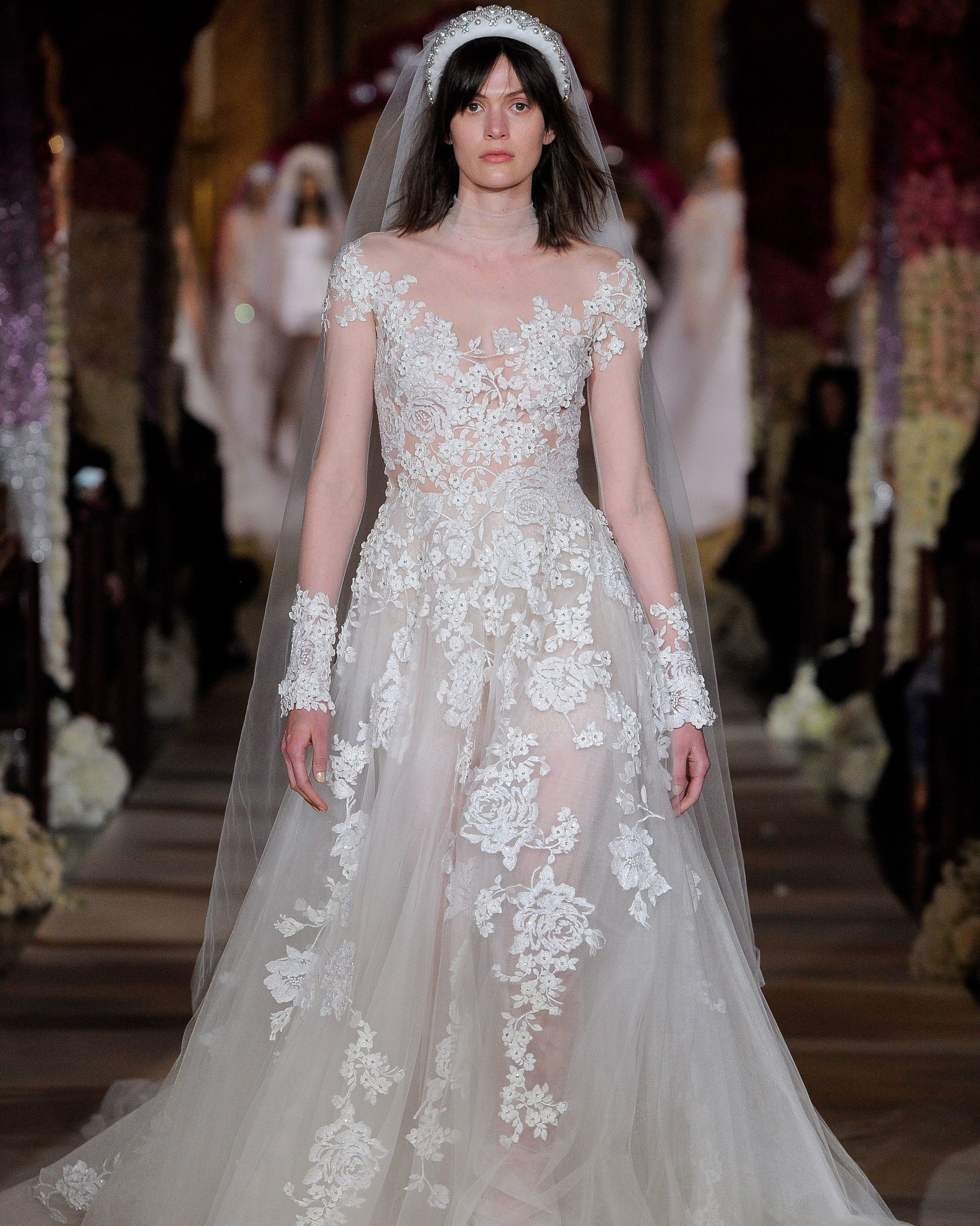 27dc74bed4923 Reem Acra Spring 2020: A-line wedding dress with high illusion neckline,  long