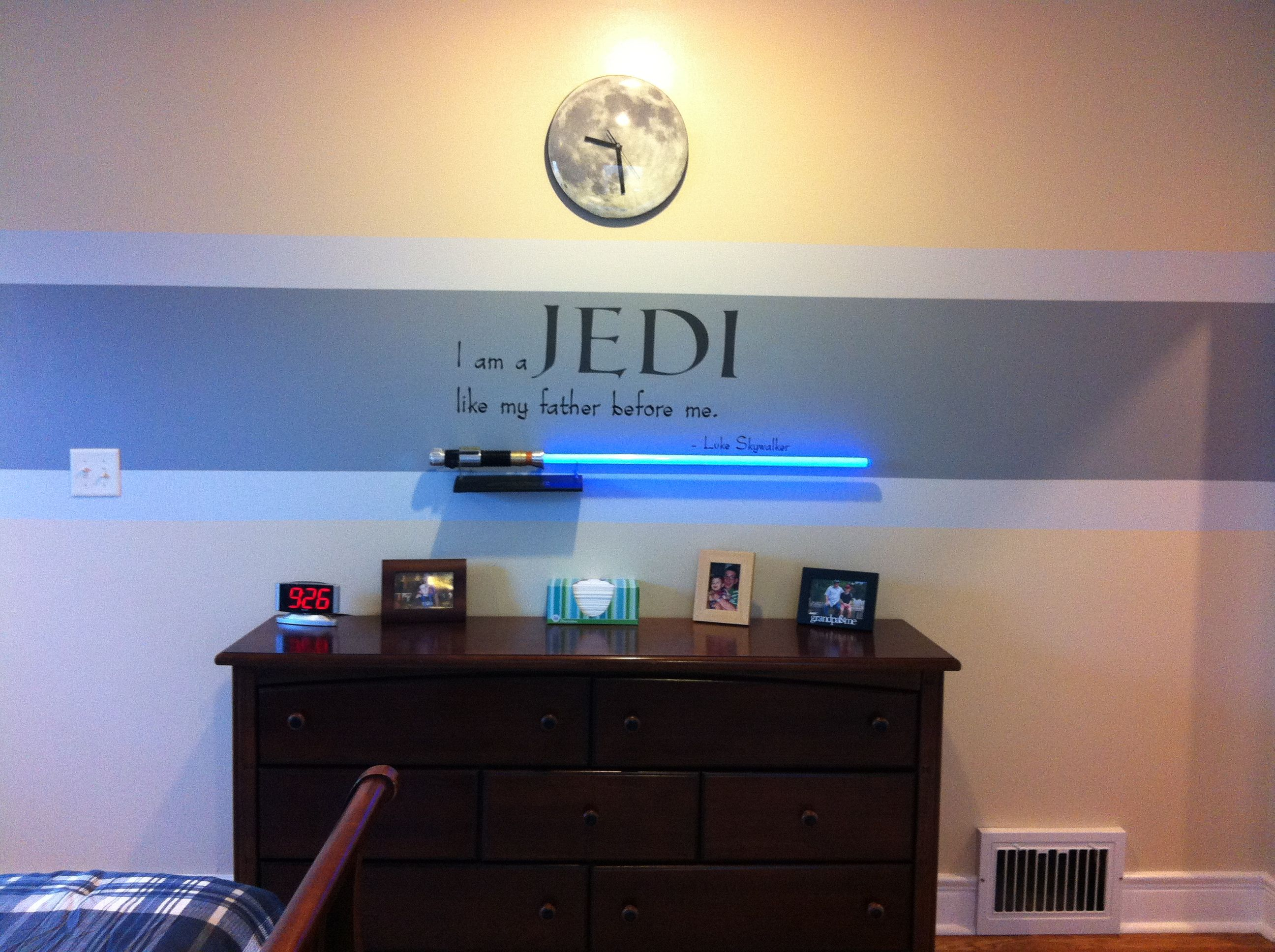 Star wars bedroom idea red stripe instead since my boy Star wars bedroom ideas