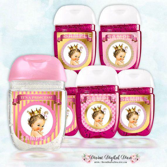 Mini Hand Sanitizer Labels Little Princess Pink Gold