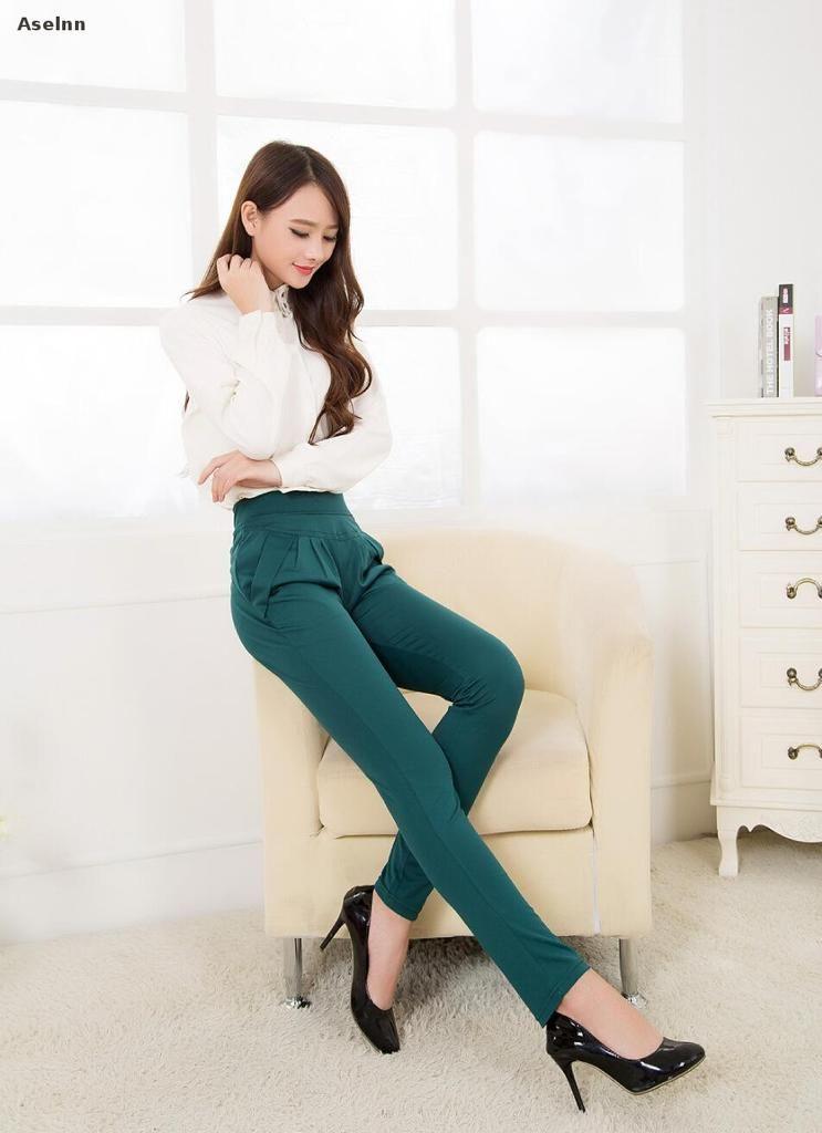0c3b1bc7a61 Spring Summer Women Harem Pants Casual Plus Size Formal Trousers  Calf-length Pants