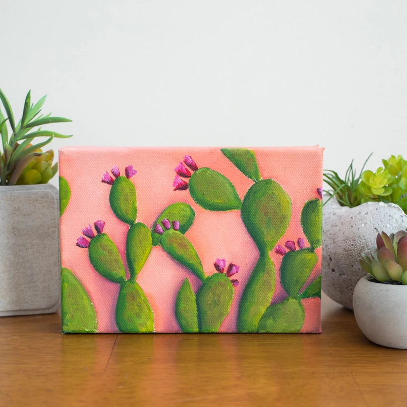 Photo of Prickly Pear Cactus Art – 7×5 Oil Painting