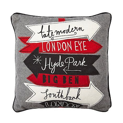Ben de Lisi Home Designer grey wool blend London cushion- at Debenhams Mobile