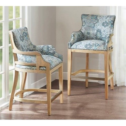 Groovy Blue Fabric Print Exposed Back Counter Or Bar Stool Bar Ncnpc Chair Design For Home Ncnpcorg