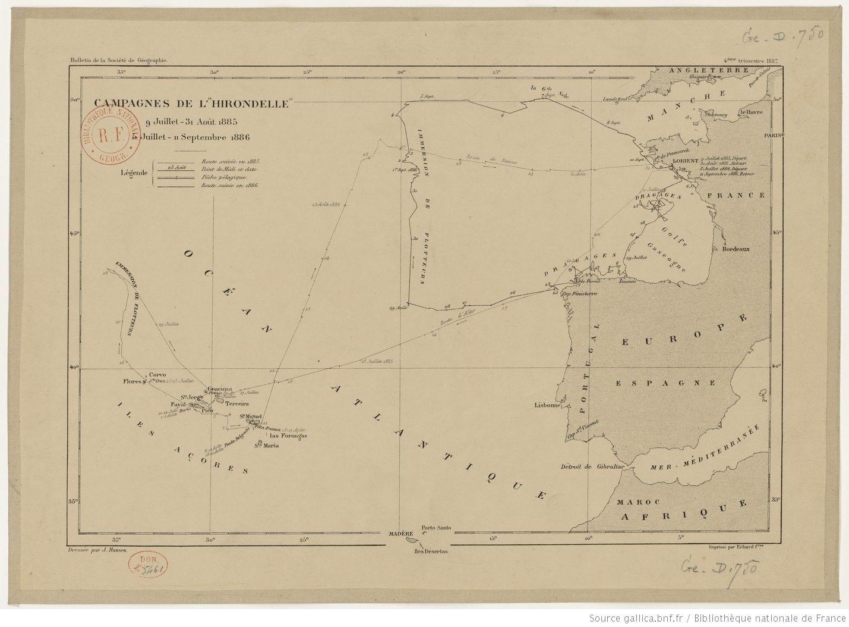 Bulletin de la Société de géographie, 4e trimestre 1887. Campagnes de l'Hirondelle, 9 juillet-31 août 1885, 5 juillet - 11 septembre 1886 / dressée par J. Hansen