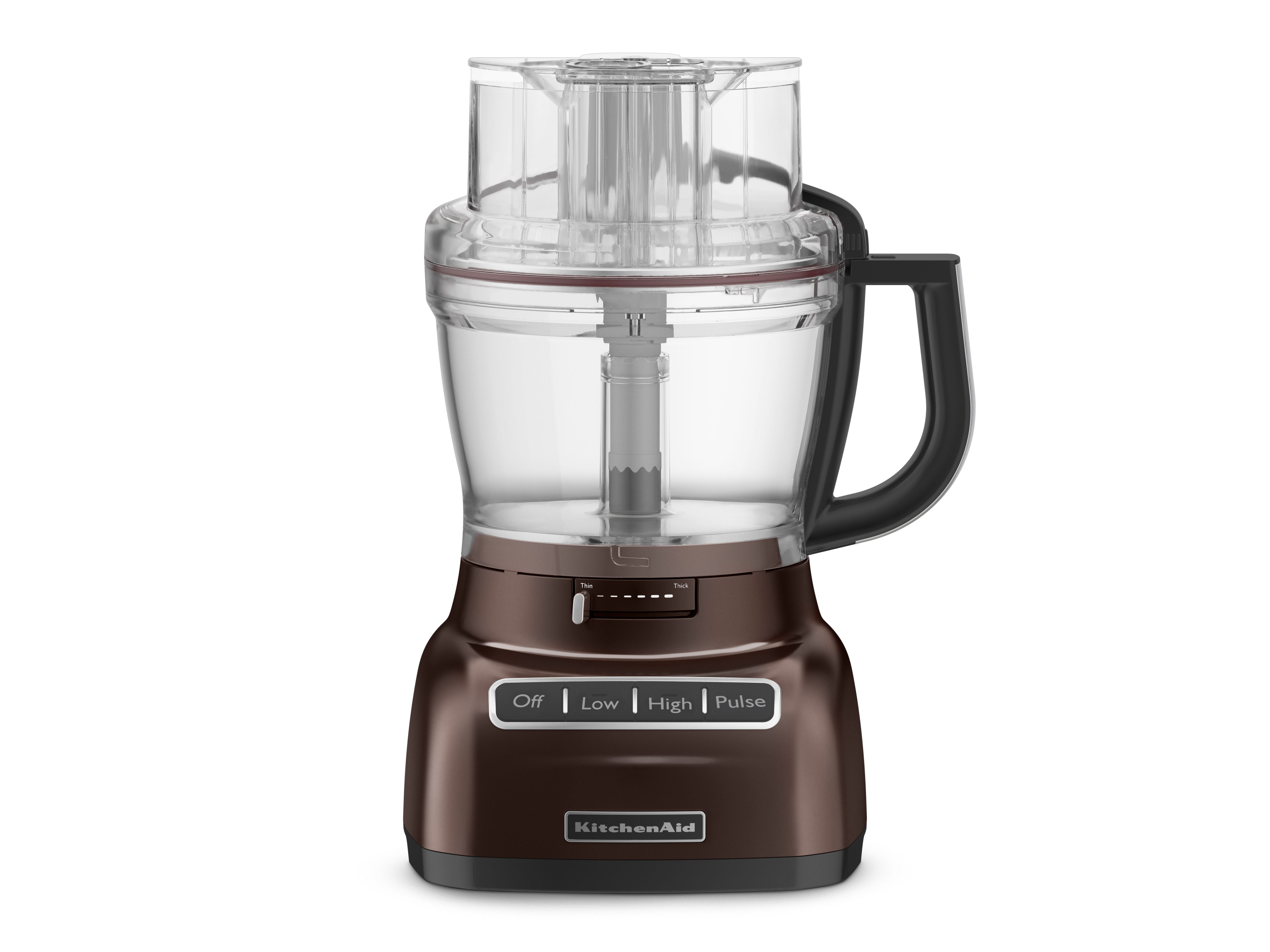 KitchenAid's new 13-cup food processor has a die cast metal design and is shown here in a new Espresso color.