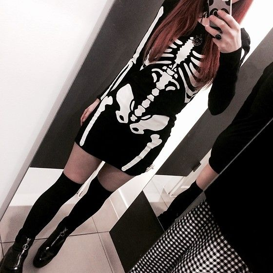 Get this look: http://lb.nu/look/8602359  More looks by Sin: http://lb.nu/user/6050977-Sin  Items in this look:  H&M Skeleton Dress, River Island Zip Front Platforms, Claire's Gothic Ring