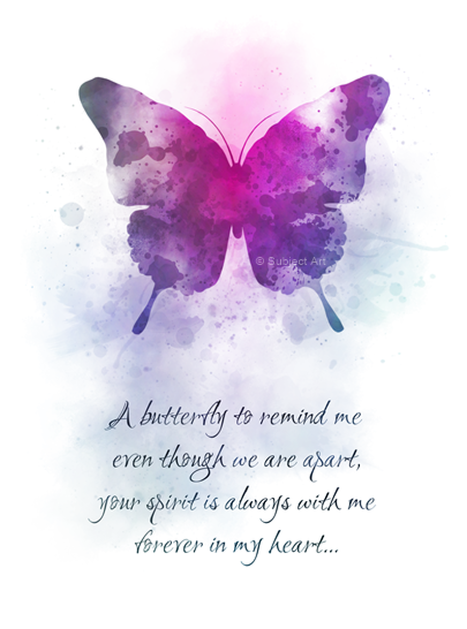 Butterfly Spirit Heart Quote Art Print Keepsake Sentimental Loved Ones Loss Grief Friend Inspirational Gift Wall Art Art Prints Quotes Butterfly Quotes Heart Quotes