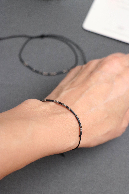 Dainty Personalized Friendship Bracelet For Girlfriend Morse Etsy Relationship Bracelets Long Distance Relationship Bracelets Morse Code Bracelet