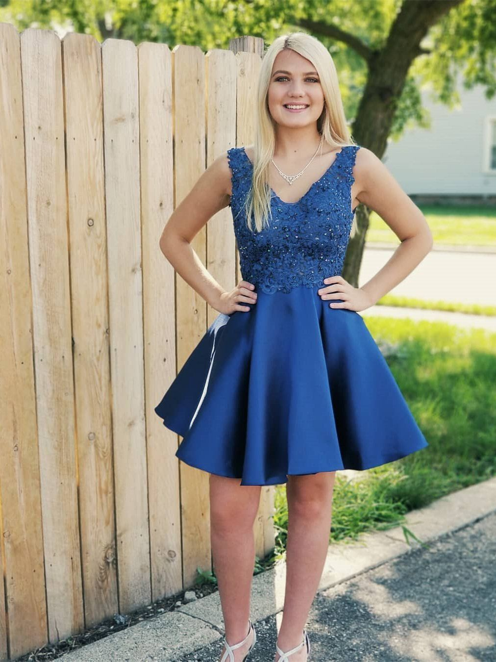Royal blue lace applique homecoming dresses backless short prom