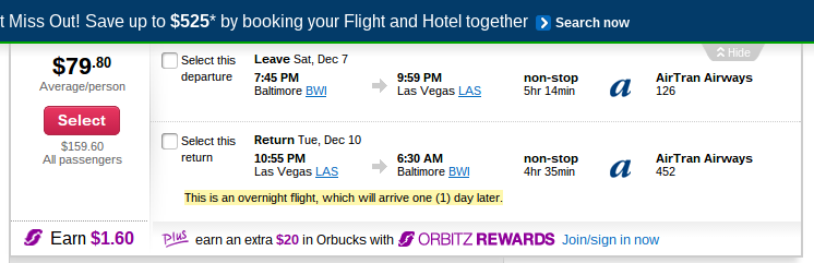 HOT! Last Minute Vegas: BWI-LAS $80 RT, $206 or less till 6/14, PLUS $45 Orbucks! - The Deal Mommy