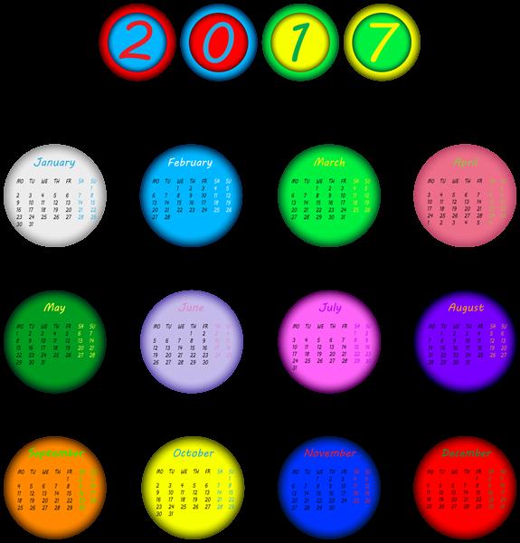 2017 Multicolored Calendar Transparent PNG Clip Art Image | 2017 ...