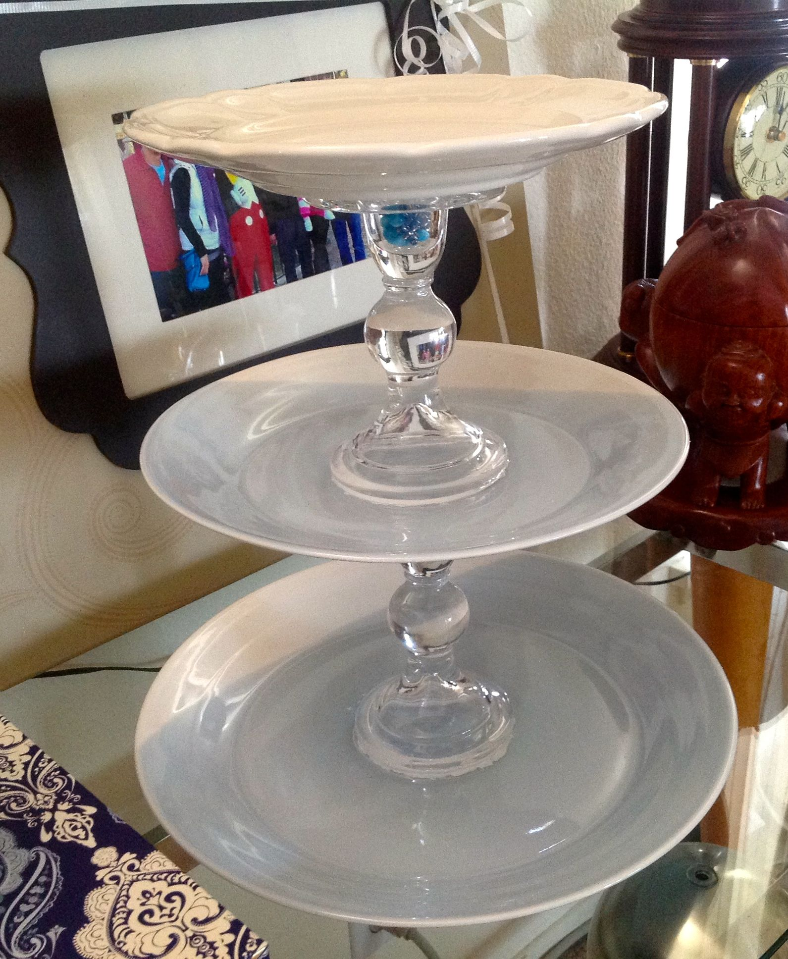 Cake stand / Jewelry stand. My 1st time trying to DIY this and came out pretty nice.