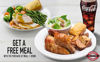 BOGO FREE Entree Purchase Coupon at BostonMarket