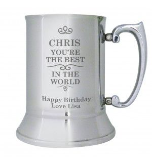 Best in the World Stainless Steel Tankard | Hip Flasks & Silver Tankards | Exclusively Personal