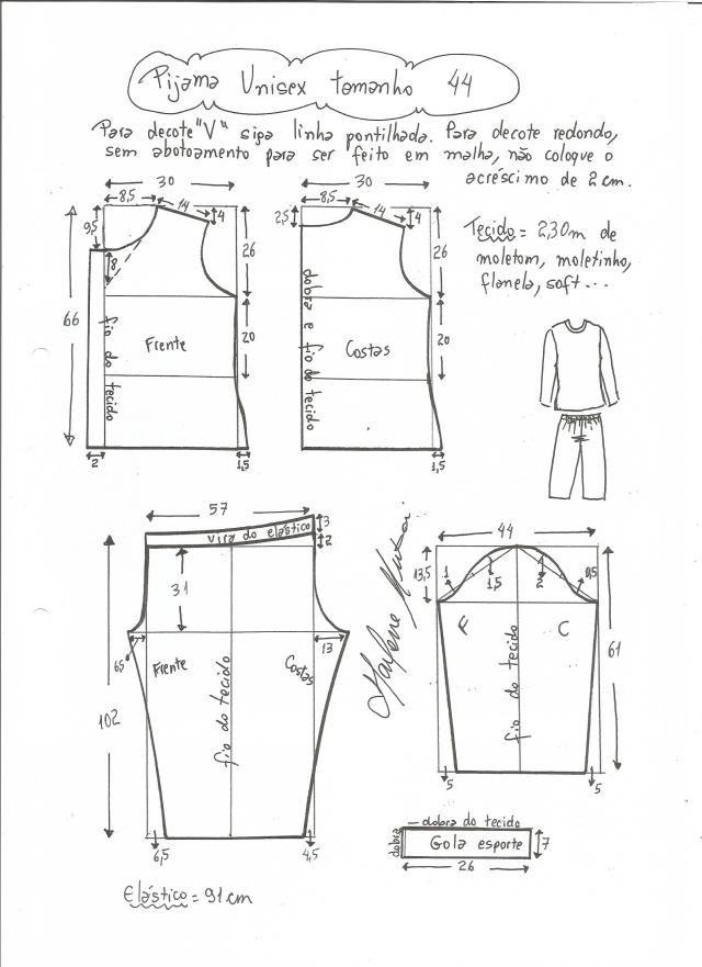 Patrón de Pijama Unisex | Pinterest | Pijama, Patrones y Costura