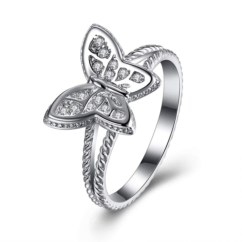BALANSOHO Women Butterfly CZ Wedding Engagement Ring in